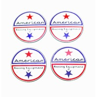 "(4) American Racing Vintage Wheel Rim Center Cap Sticker Decals 1.5"" OD 36MM"