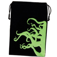 "Fantasy Flight Games Dice Bag Tentacles 6.25"" x 9"" Black & Green with Drawstring"