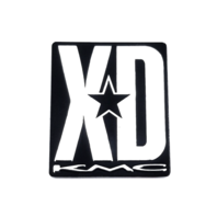 "KMC XD Rockstar Spoke Sticker 1.25"" x 1.5"" Black w/ Aluminum Logo Adhesive Back"