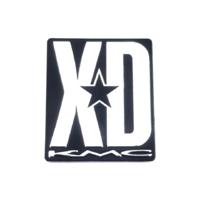 "KMC XD Rockstar Spoke Sticker 1.25"" x 1.5"" Black w/ Aluminum Logo Adhesive Back"