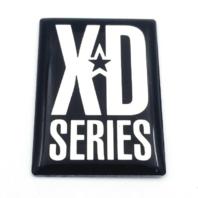 XD Series 775 Rockstar Wheel Spoke Logo Sticker Chrome & Black w/ Clear Overlay