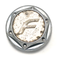 "F Fast Wheel Center Hub Cap 2.625"" OD Snap In Chrome and Silver MK-002"