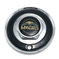 "Mangels Wheel Center Hub Cap Chrome & Black 6.5"" OD Bolt On PD-6876"