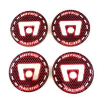Set of 4 Motegi Racing Red Black & Machined Silver Center Logo w/ Adhesive Back
