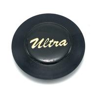 "Ultra Wheel Center Hub Cap 3"" OD Black & Gold Snap In U-37"