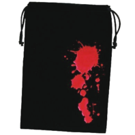 "Fantasy Flight Games Dice Bag Blood 6.25"" x 9"" Black & Red with Drawstring"
