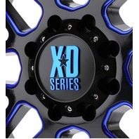 KMC XD Gloss Black w/ Blue Logo 6x5.5 Bolt On Center Cap fits XD820 Wheels