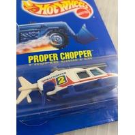 1990 Hot Wheels Proper Chopper #86 Blue Card Die Cast 9112