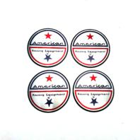 "American Racing 1.75"" Logo Sticker 44mm Diameter Foil Twin Star 4 Pack Decal"