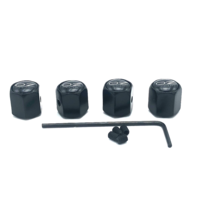 Set 4 Aftermarket Replacement Valve Stem Caps w/ Set Screw Black fits OZ Racing