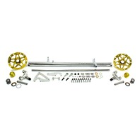 Front Axle Assembly - 2-1/2 in OD - 10 Degree Front Spindles - Caliper Mount / Hubs / King Pins / Steering Arm - Chromoly / Aluminum - Sprint Car - Kit