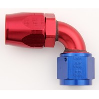 Fitting - Hose End - 90 Degree - 6 AN Hose to 6 AN Female - Aluminum - Blue / Red Anodize - Each