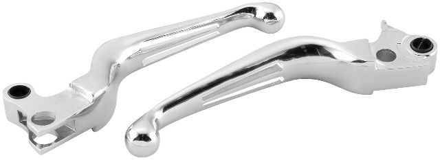 Biker's Choice Chrome Dual Slotted Levers - 53525 fits Harley-Davidson