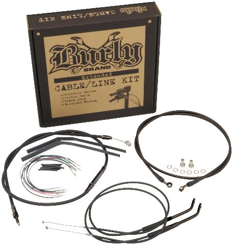 Burly Black Cables / Brake Lines Kit 13in. Bagger Bars (ABS) B30-1048