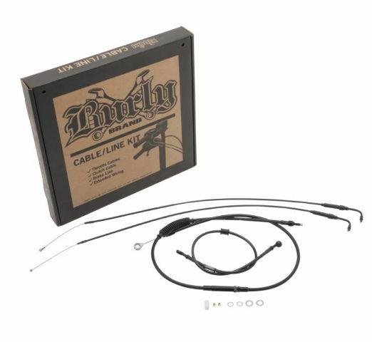 Burly Black Cables / Brake Lines Kit Clubman Bars B30-1097