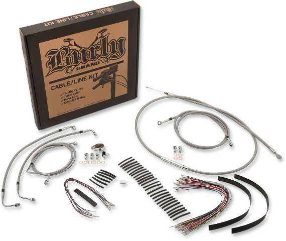 Burly Stainless Braid Cables / Brake Lines Kit 13in. Bagger Bars B30-1102