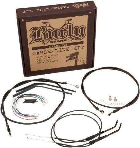 Burly Black Cables / Brake Lines Kit 14in. Ape Hangers B30-1124