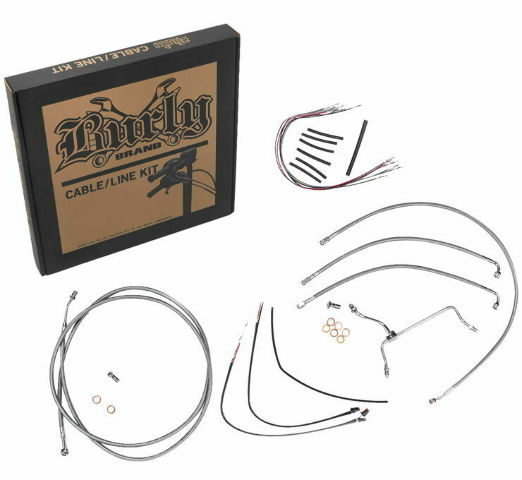 Burly Stainless Braid Cables / Brake Lines Kit 14in. Gorilla Bars B30-1152