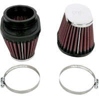 K&N RC-0982 Clamp On Custom Oval Tapered Air Filter Chrome End Cap