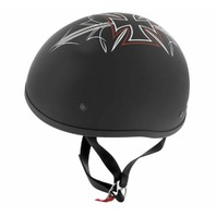 Skid Lid Original Street Rod Helmet 2XL - Maltese Cross Design - Matte Black