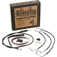 """Burly Extended Black Vinyl Cable / Brake Line Kit for 18"""" Apehangers B30-1074"""