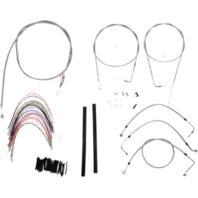 "Burly 18"" Ape Hanger Braided Stainless Steel Cable/Brake Line Kit - B30-1081"