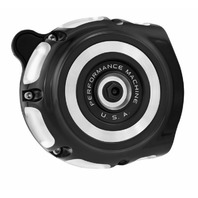 Performance Machine Black/Silver Vintage Air Cleaners - 0206-2130-BM for Harley