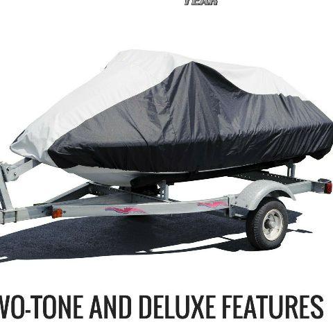 "Budge XL Deluxe Jet Ski Cover Fits Jet Skis 121"" to 135"" Black/Gray BA231212015"
