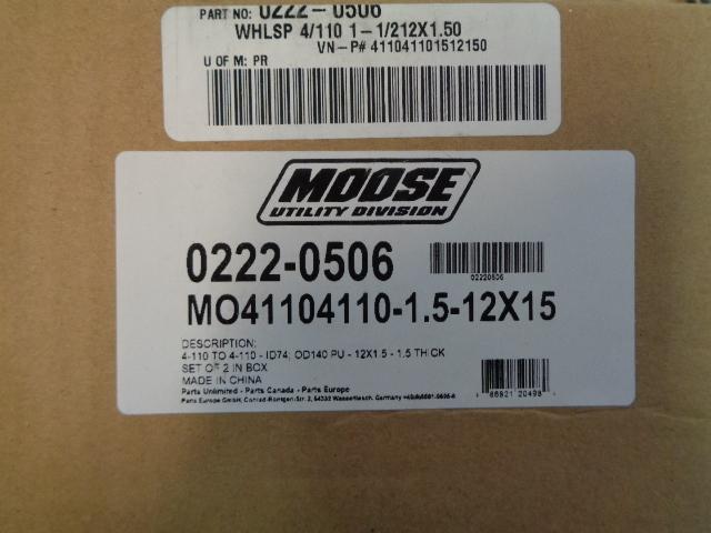 Moose Racing Aluminum Wheel Spacers 4/110 1-1/212X1.50 0222-0506