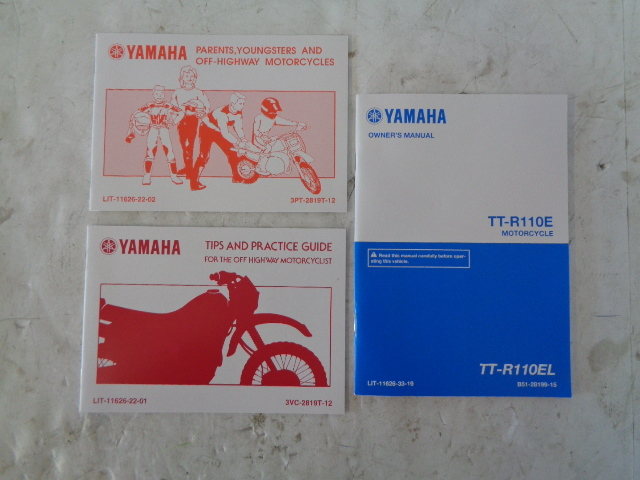 Yamaha Dirt Bike 2009-2021 TT-R 110 OEM Manuals With Tool Kit # B51-28199-15