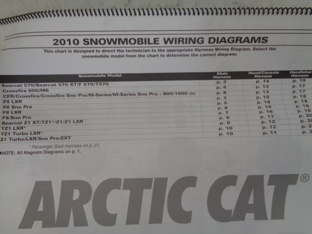 Arctic Cat 2010 Snowmobile Wiring Diagram Assembly Part# 2258-677