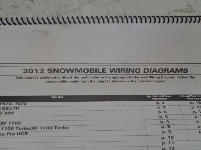 Arctic Cat 2012 Snowmobile Wiring Diagram Assembly Part# 2259-251