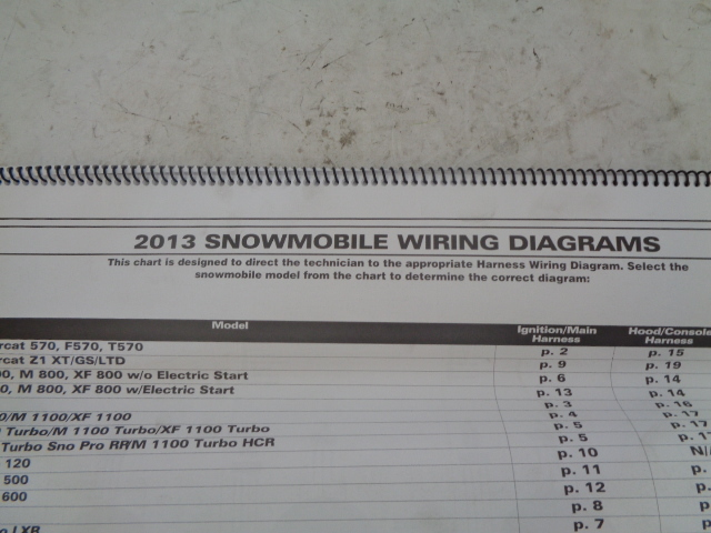 Arctic Cat 2013 Snowmobile Wiring Diagram Assembly Part# 2259-520