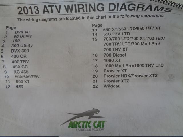 Arctic Cat ATV Quad 2013 ATV Wiring Diagrams Manual Part# 2259-671
