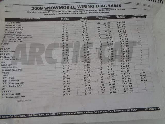 Arctic Cat 2009 Snowmobile Wiring Diagram Assembly Part# 2258-273