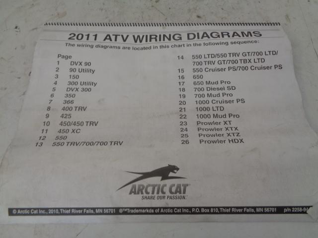 Arctic Cat ATV Quad 2011 ATV Wiring Diagrams Manual Part# 2258-944