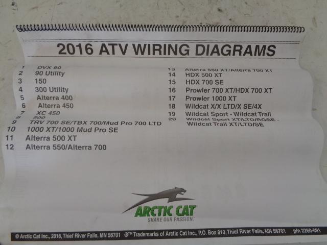 Arctic Cat ATV Quad 2016 ATV Wiring Diagrams Manual Part# 2260-691