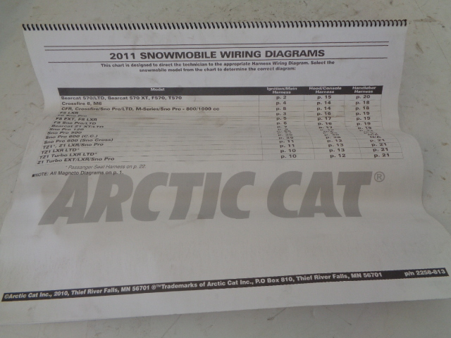 Arctic Cat 2011 Snowmobile Wiring Diagram Assembly Part# 2258-813