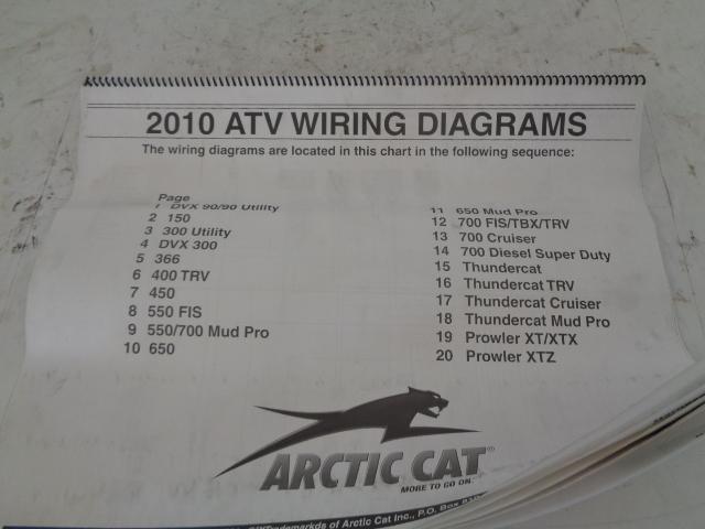 Arctic Cat ATV Quad 2010 ATV Wiring Diagrams Manual Part# 2258-599