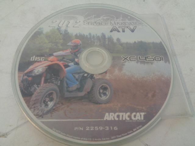 Arctic Cat ATV Quad 2012 XC 450I Service Manual CD / Disc Part# 2259-316