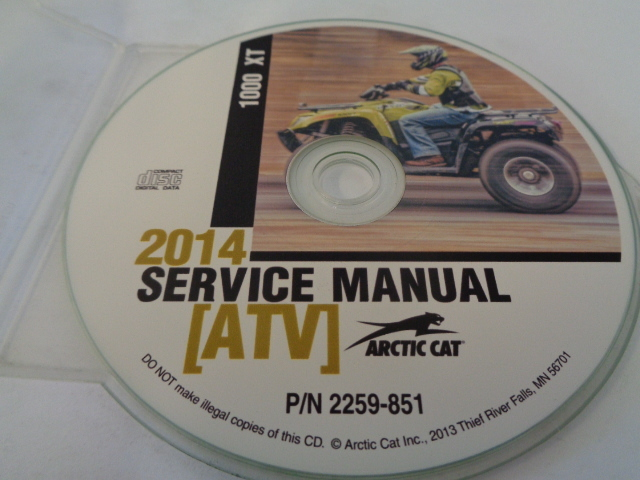 Arctic Cat ATV Quad 2014 1000 XT Service Manual CD / Disc Part# 2259-851
