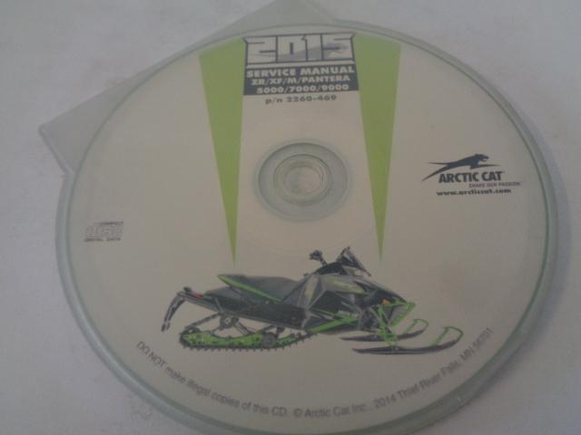 Arctic Cat Snowmobile 2015 ZR/XF/M/Pantera Service Manual CD Disc # 2260-469