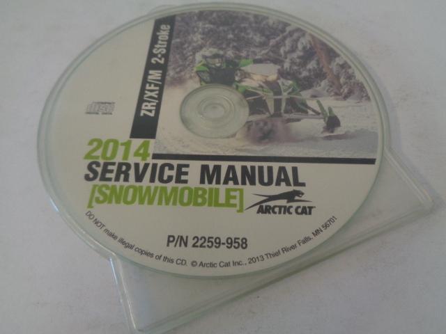 Arctic Cat Snowmobile 2014 ZR/XF/M 2-Stroke Service Manual CD Disc Part 2259-958