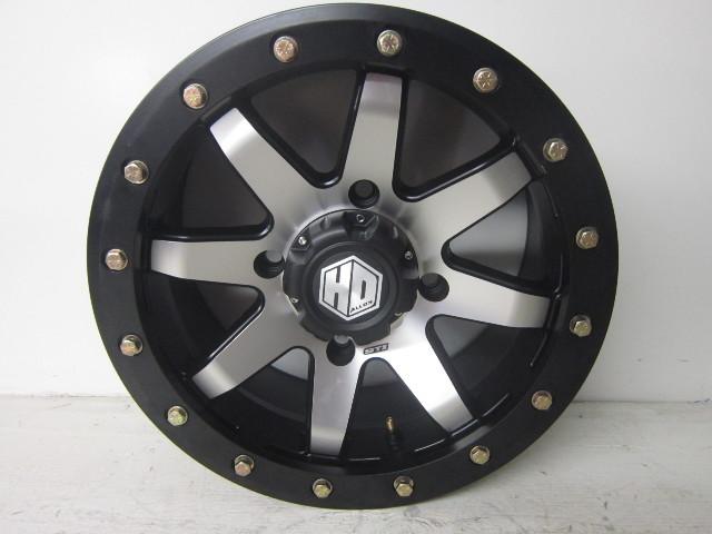 UTV Side By Side STI HD9 Black And Silver 4 Lug Bead Lock Wheel 15x7 SH965-15x7