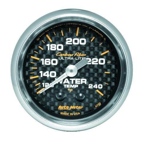 Auto Meter 4732 Carbon Fiber Mechanical Water Temperature Gauge