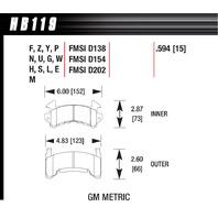 HAWK BRAKE Metric GM DTC-60  P/N - HB119G.594