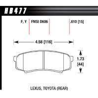 HAWK BRAKE Brake Pads Rear Toyota Truck / SUV LTS P/N - HB477Y610