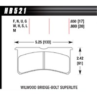 HAWK BRAKE SL Bridgebolt DTC-70  P/N - HB521U.800