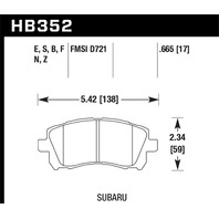 Hawk Performance HB352F.665 Disc Brake Pad Fits 97-02 Forester Impreza Legacy