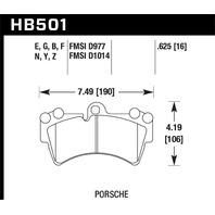 Hawk Performance HB501Z.625 Disc Brake Pad Fits 03-15 Cayenne Q7 Touareg